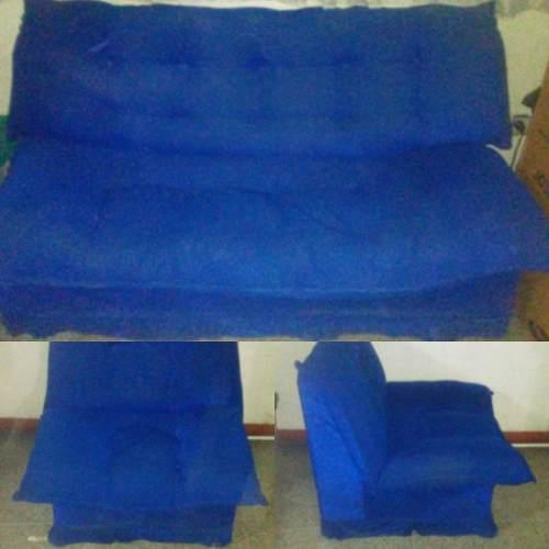 Mueble Sala Juego Tres Piezas Perfecto Estado Tela Azul