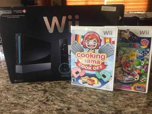 Nintendo Wii Negro + 2 Juegos Usado