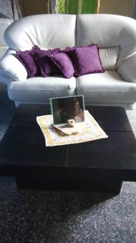 Sofa, Semi Cuero Blanco, Dos Puestos, Mueble, Moderno