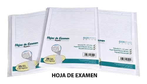 Hojas De Examen, Paquete De 25 Hojas Dobles. Guayoyo