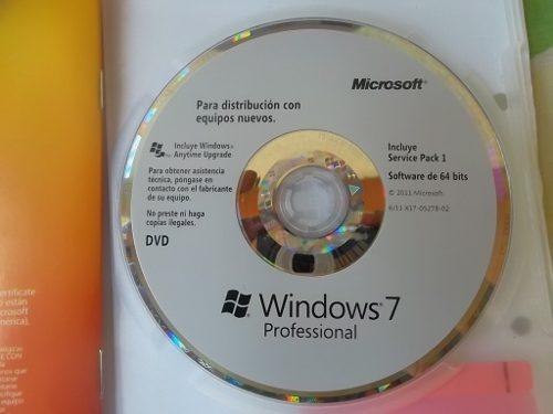 Cd Fisico Windows 7 Profesional 64 Bits (sin Licencia)
