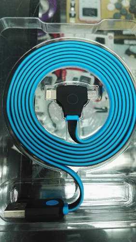 Cable Usb Carga Rapida V8 Y iPhone, 2 En 1 Con Led.