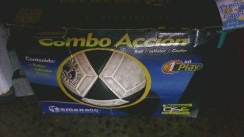 Combo Balon De Futbol, Inflador Y Termo