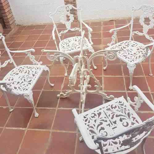 Juego De Sillas Y Mesa Blanco Hierro Para Jardin Exteriores