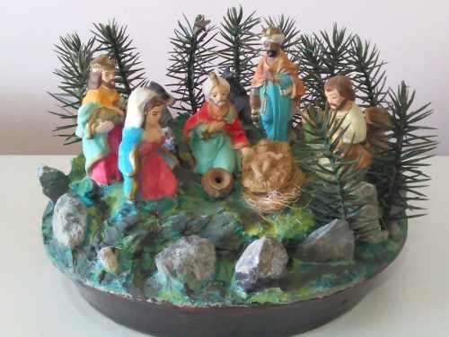Nacimiento Pesebre Artesanal Pintado A Mano Adorno Navidad
