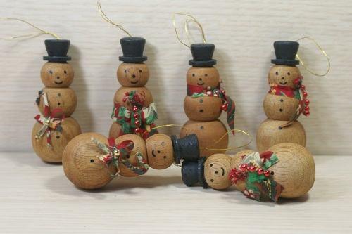 Set 6 Muñecos Nieve De Madera Para Arbolito De Navidad
