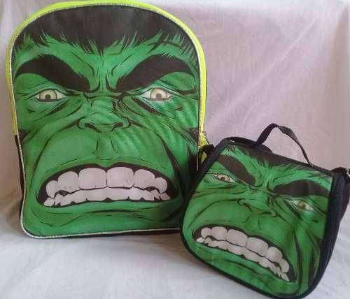 Bolso Escolar Grande De Hulk + Lonchera Termica(envío