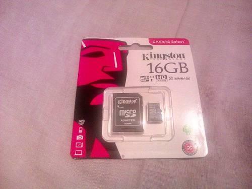 Memoria Micro Sd Hc Kingston 16gb Clase 10 Nuevas 6verdes