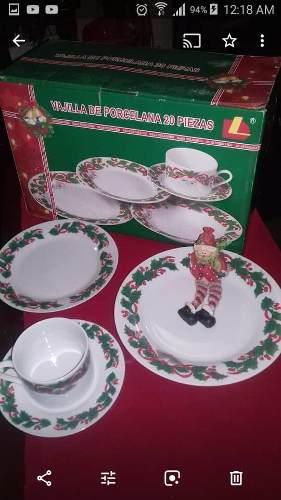 Vajilla De Navidad 20 Piezas De Porcelana