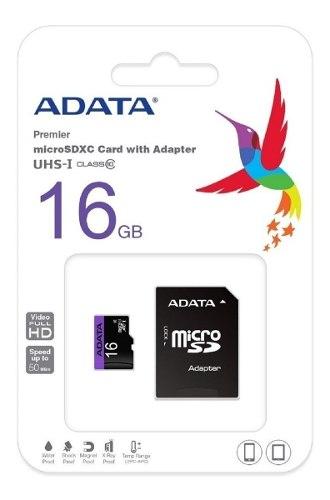 Memoria 16gb Micro Sd Adata Clase 10 Sdhc Adaptador Blister