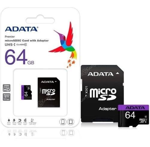 Memoria 64gb Micro Sd Adata Clase 10 Sdhc Adaptador Blister
