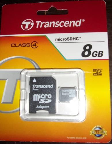 Memoria Micro Sd Transcend 8 Gb Clase 4 Nueva