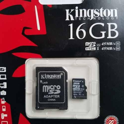 Tarjeta De Memoria Kingston 16gb, Micro Sd Hc, + Adaptador.