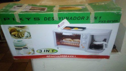 Horno Desayunador 3 En 1 Pixys Cafetera Sarten Microoondas