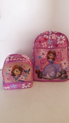 Bolso Morral Escolar Y Lonchera De Princesa Sofia Disney
