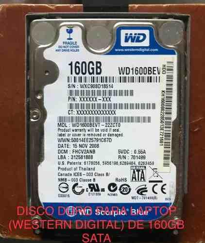 Disco Duro De 160gb Sata Para Laptop Western Digital