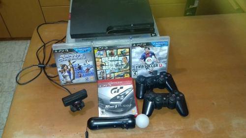 Play Station 3 2 Controles 4 Juegos Y Ps Move