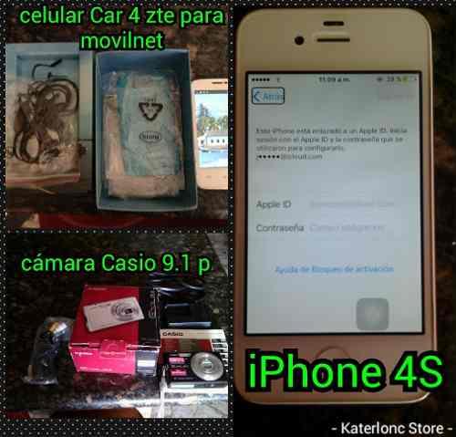 Combo Camara Casio+celular C4+iPhone 4s Bloqueado Por Icloud