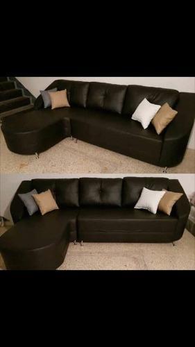 Muebles, Modulares L En Semicuero Y Puffs