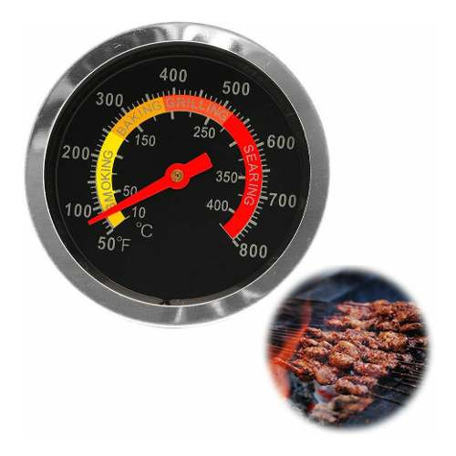 Termometro De Horno Parrilla 10° Hasta 400° Acero
