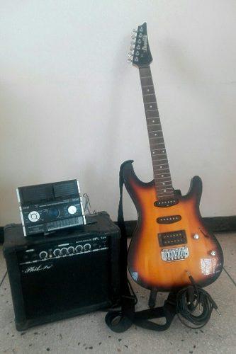 Guitarra Eléctrica Con Planta De Sonido Y Pedalera De