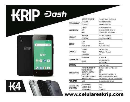 Teléfono Android Krip K4 Doble Sin Liberado