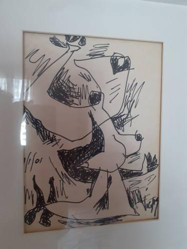 Autentico Dibujo De Oswaldo Vigas Precio 500 Vrds Oportunid