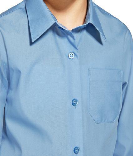 Camisa Escolar Blanca-azul-beis Talla 12 Y 14