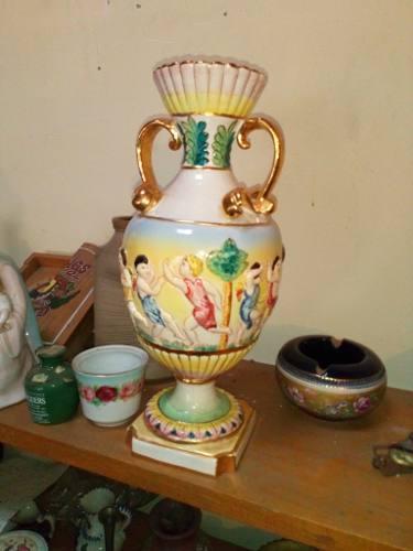 Ánfora De Porcelana Capodimonte En Relieve Made In Italy