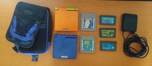 Nintendo Game Boy Advance Sp Lima Y Naranja + Juegos