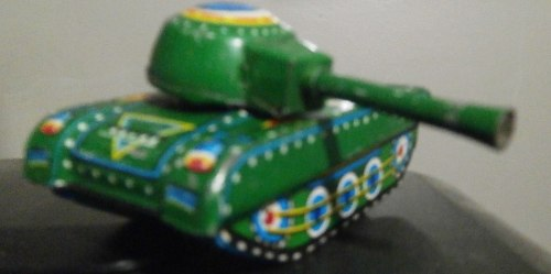 Pequeño Tanque De Lata Antiguo Vintage De Colección