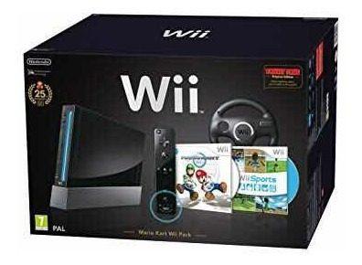 Nintendo Wii Consola Black Negra Mario Kart