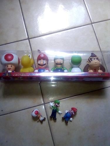 Set De 6 Figuras De Super Mario Bross Y 4 Muñecos Toad