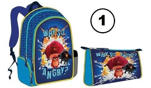 Combo Bolso Morral Escolar Angry Birds Original Capi Nuevo!