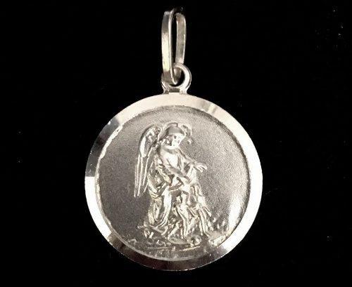 Medalla 20mm Plata Ley 925 Angel De La Guarda 4gr Grabado 6