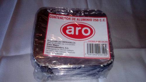 Envases Desechables De Aluminio Con Tapa 250cc,