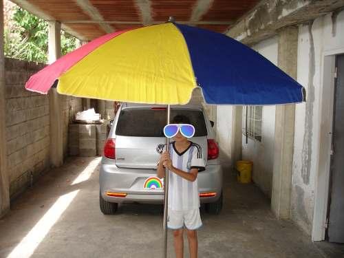 Sombrilla Paraguas Acero Bronce Y Lona Aluminizada