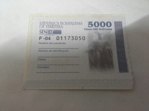 Timbre Fiscal Estampilla Nacional De bs