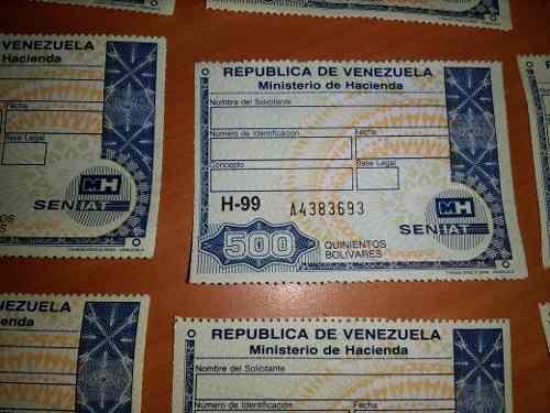 Timbres Fiscales De 500 Bolivares Serie H-99
