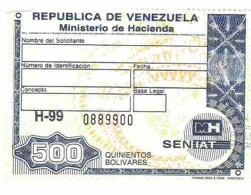 Timbres Fiscales De 500 Bolívares
