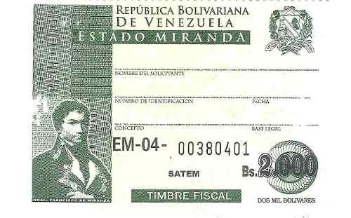Timbres Fiscales De  Bolívares Del Edo. Miranda