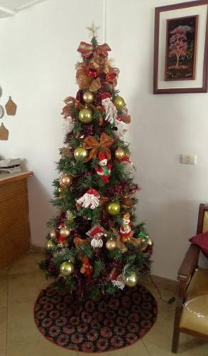Árbol De Navidad 2 Mts De Alto Con Adornos Y Juego De Luces