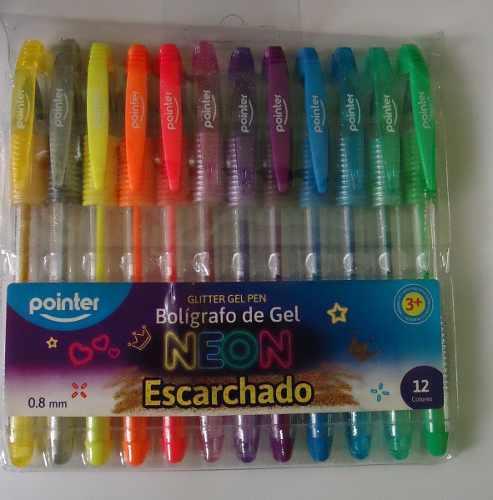 Boligrafos De Gel Escarchados 12 Colores