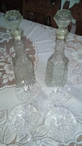 Licoreras Con Copas De Cristal De Bohemia