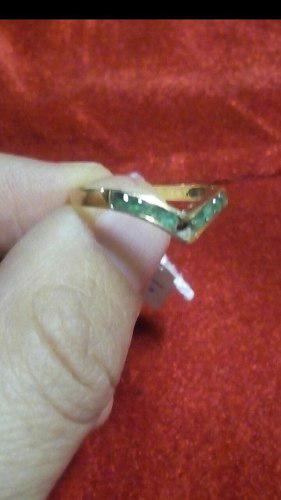 Anillo De Oro 18 Con Piedras De Esmeralda