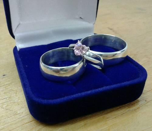 Aros De Matrimonio Lisos Mas Compromiso En Plata Ley 950