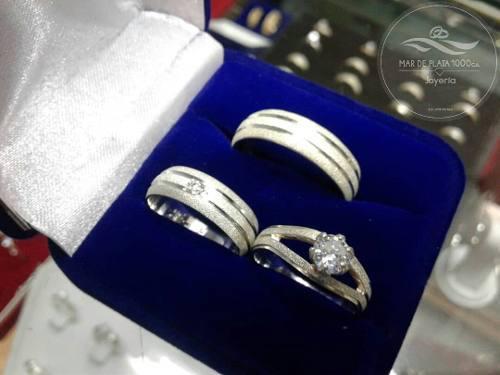 Aros De Matrimonio Mas Solitario En Plata Ley 950