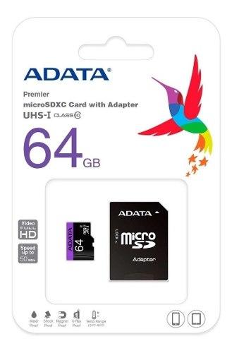 Memoria Micro Sd Marca Adata 64 Gb Clase 10 Sdhc (13 Vrds)