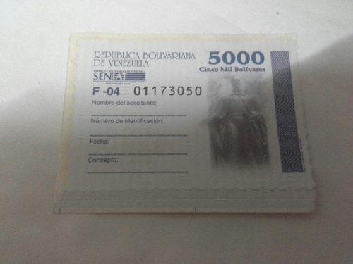 Timbre Fiscal Estampilla Nacional De 5000bs