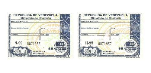 Timbres Fiscales De 500 Bolívares 2 Seriales Consecutivos